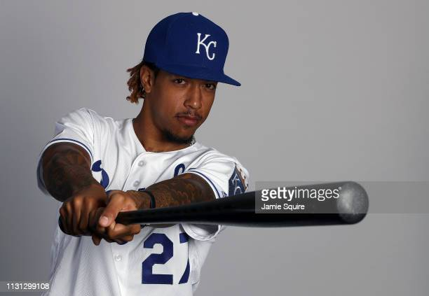 Adalberto Mondesi poses for a portrait during Kansas City Royals photo day on February 21 2019 in Surprise Arizona