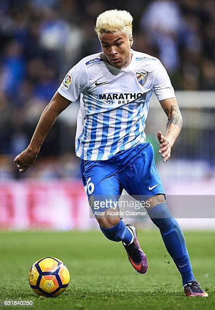 Adalberto Penaranda of Malaga CF in action during the La Liga match between Malaga CF and Real Sociedad de Futbol at La Rosaleda Stadium on January...