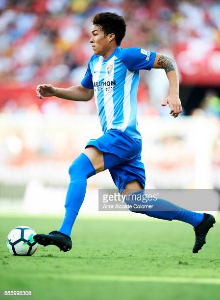 Adalberto Penaranda of Malaga CF in action during the La Liga match between Sevilla and Malaga at Estadio Ramon Sanchez Pizjuan on September 30 2017...