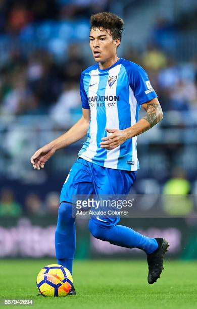 Adalberto Penaranda of Malaga CF in action during the La Liga match between Malaga and Celta de Vigo at Estadio La Rosaleda on October 29 2017 in...