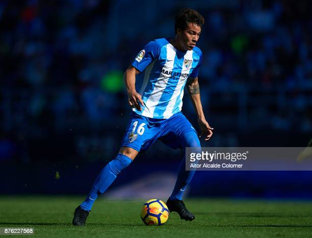 Adalberto Penaranda of Malaga CF in action during the La Liga match between Malaga and Deportivo La Coruna at Estadio La Rosaleda on November 19 2017...