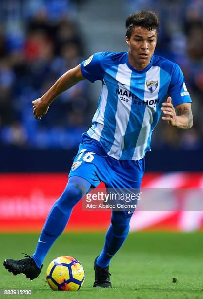 Adalberto Penaranda of Malaga CF in action during the La Liga match between Malaga and Levante at Estadio La Rosaleda on December 1 2017 in Malaga...