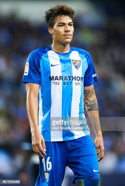 Adalberto Penaranda of Malaga CF looks on during the La Liga match between Malaga and Celta de Vigo at Estadio La Rosaleda on October 29 2017 in...