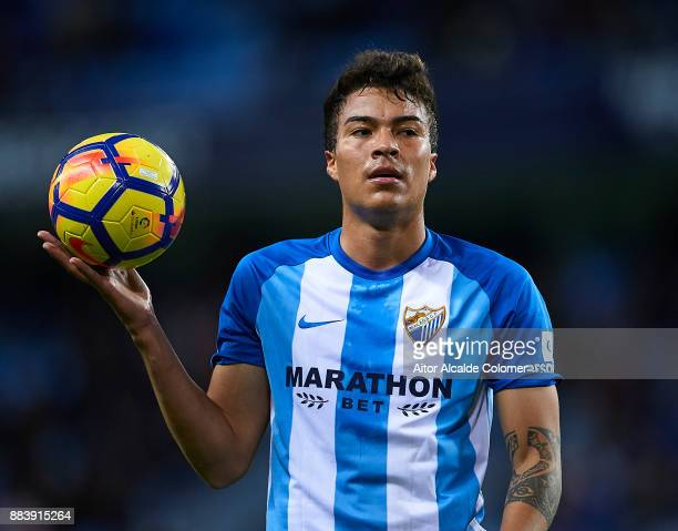 Adalberto Penaranda of Malaga CF looks on during the La Liga match between Malaga and Levante at Estadio La Rosaleda on December 1 2017 in Malaga...