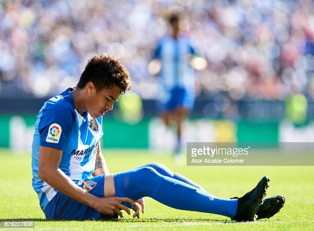 Adalberto Penaranda of Malaga CF reacts during the La Liga match between Malaga and Deportivo La Coruna at Estadio La Rosaleda on November 19 2017 in...