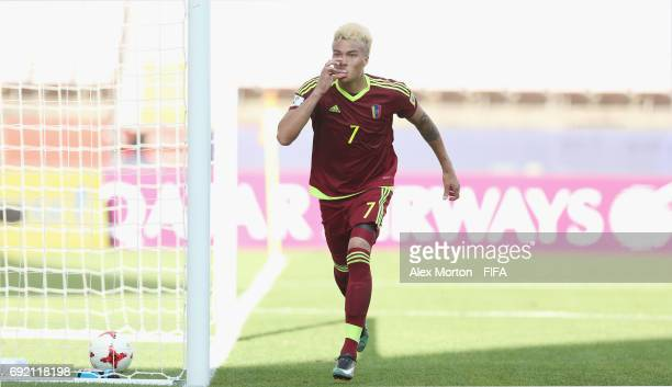 Adalberto Penaranda of Venezuela celebrates after scoring their first goal during the FIFA U20 World Cup Korea Republic 2017 Quarter Final match...