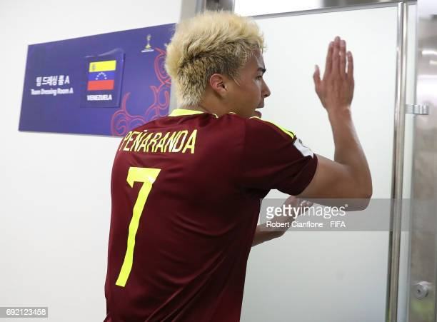 Adalberto Penaranda of Venezuela celebrates after Venezuela defeated the USA during the FIFA U20 World Cup Korea Republic 2017 Quarter Final match...