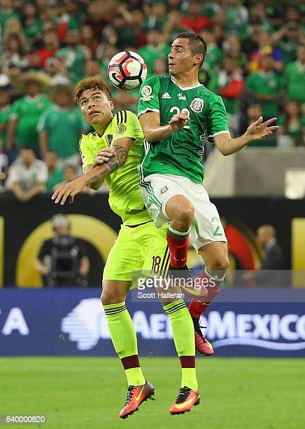Adalberto Penaranda of Venezuela fights for the ball with Paul Aguilar of Mexico during the 2016 Copa America Centenario Group match between Mexico...