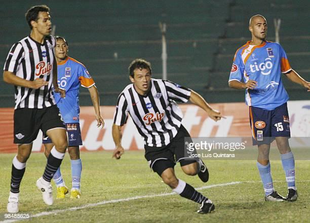 Adalberto Roman of Libertad celebrates scored goal during a match against Blooming at Ramon Aguilera Costa Stadium on April 15 2010 in Santa Cruz...