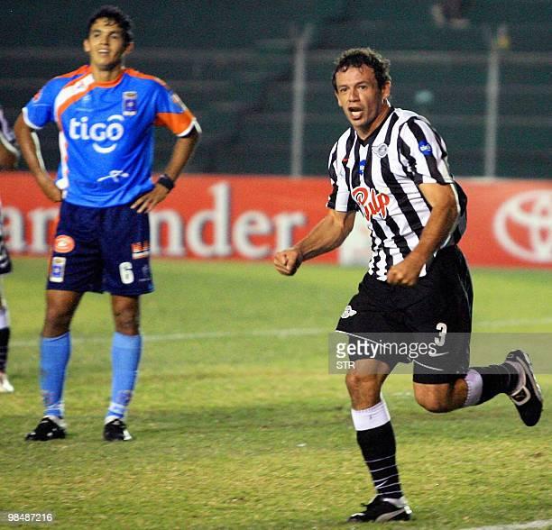 Adalberto Roman of Paraguayan Libertad celebrates his goal against Bolivian Blooming on April 15 during a Libertadores Cup football macth at Ramon...