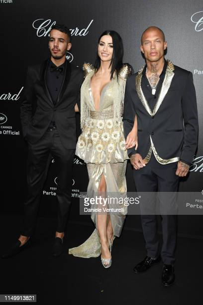 Adam Abaida Atarshi Andreea Sasu and Jeremy Meeks attend the Chopard Love Night photocall on May 17 2019 in Cannes France