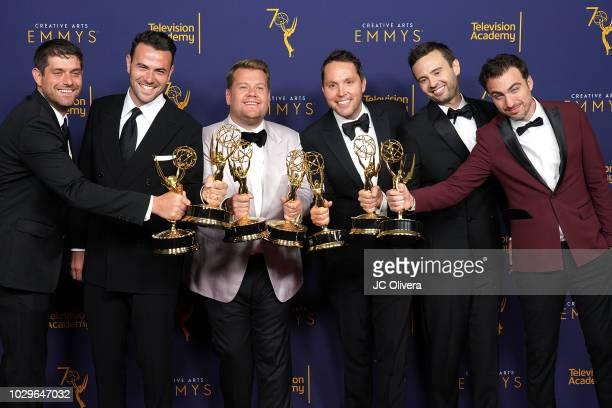 Adam Abramson Ben Winston James Corden Rob Crabbe Ryan McKee and David Lamattina winners of the award for outstanding shortform comedy or drama...