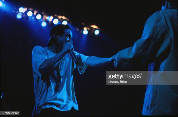 Adam 'AdRock' Horovitz and Adam 'MCA' Yauch perform with Beastie Boys at the Universal Amphitheatre on November 24 1992 in Los Angeles California