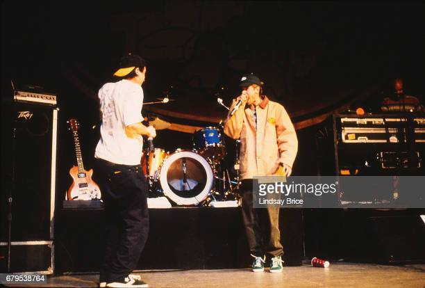 Adam AdRock Horovitz and Adam MCA Yauch perform with Beastie Boys at the Universal Amphiteatre on November 24 1992 in Los Angeles California