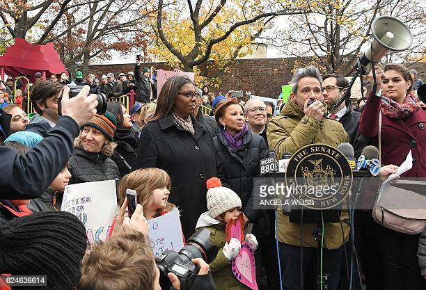 Adam 'AdRock' Horovitz of the Beastie Boys speaks as activists protest racism and hate after swastikas found in Adam Yauch Park in Brooklyn New York...