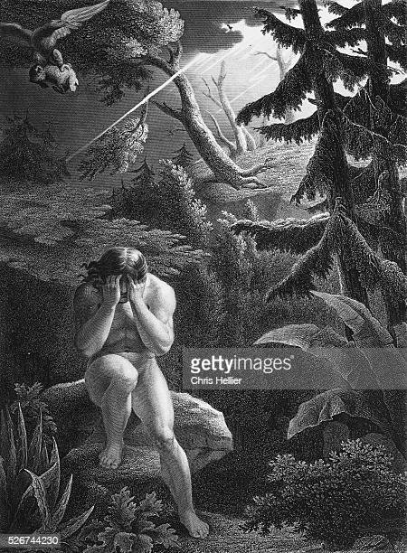 Adam after the original sin 19th century engraving by Flatters from John Milton's Paradise Lost