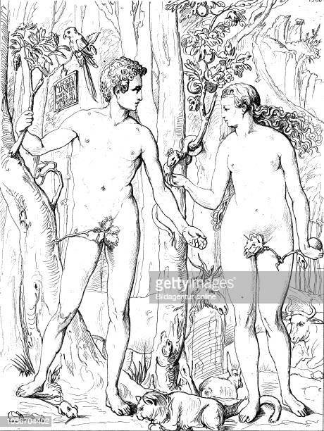 Adam and Eve according to the creation myth of the Abrahamic religions were the first man and woman digital improved reproduction of an original...