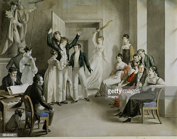 Adam and Eve and the Falla charade played by the Schubertiansthe group of friends around Schubert in Atzenbruck Castle near Vienna1821 [Adam und Eva...