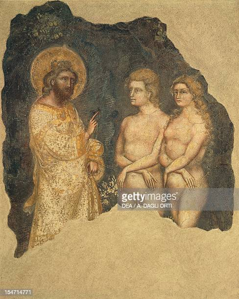 Adam and Eve before the Eternal ca 1350 by Guariento fresco Carrarese Chapel Galilean Academy of Arts and Sciences previously Patavina Padua Veneto...