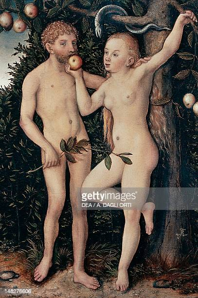 Adam and Eve by Lucas Cranach the Elder oil on panel Prague Národní Galeri V Praze