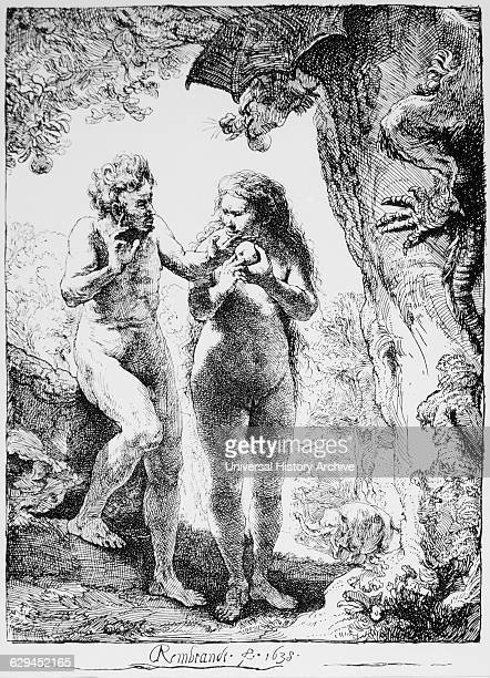 Adam and Eve Engraving by Rembrandt 1633