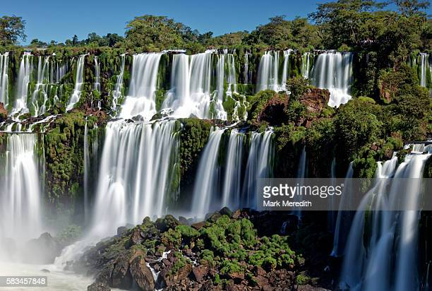Adam and Eve Falls at slow shutter speed at Iguazu Falls in Argentina