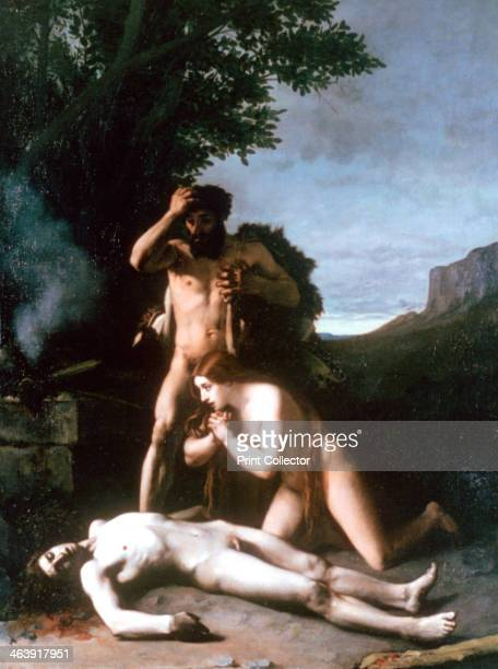 'Adam and Eve finding the Body of Abel' 1858 Adam and Eve were the first man and woman created by God according to the Bible and the Qur'an