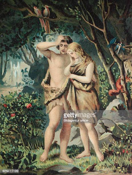 Adam and eve in paradies chromolithpraph from a home bible 1870