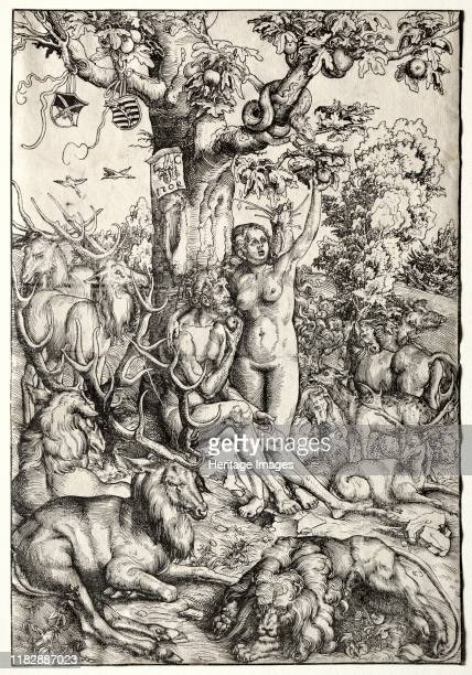 Adam and Eve in Paradise, 1509. Characteristic of German Renaissance art, Cranach?s print reflects an interest in the natural world. Here, a lion and...