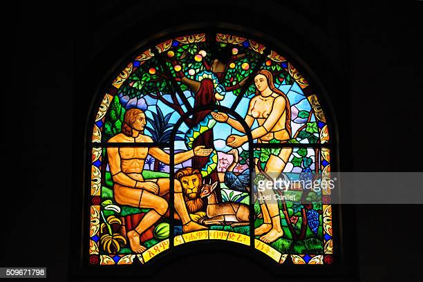 Adam and Eve in stained glass - Ethiopia