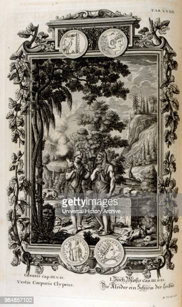 Adam and Eve in the garden of Eden illustrated in 'Physique sacree