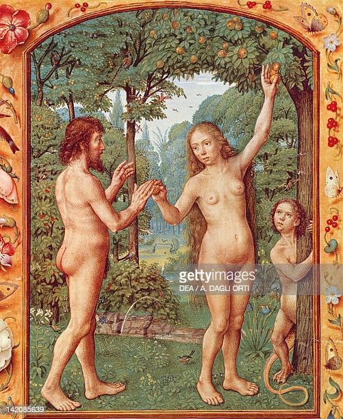 Adam and Eve miniature from the Grimani Breviary manuscript Italy 15th Century