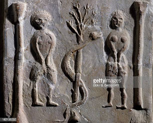 Adam and Eve relief from Sousse Tunisia Early Christian period 5th6th century Sousse Musée Archéologique
