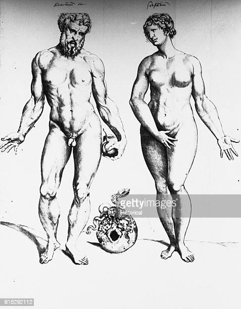 Adam and Eve stand side by side with a skull with a snake in it between them Adam holds an apple in his hand