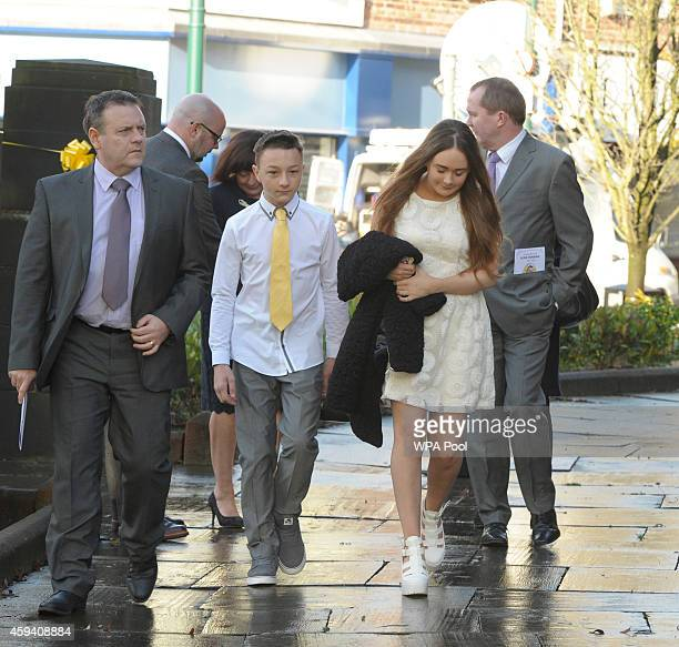 Adam and Lucy Henning arrive for a memorial service for murdered British aid worker Alan Henning at Eccles Parish Church on November 22 2014 in...