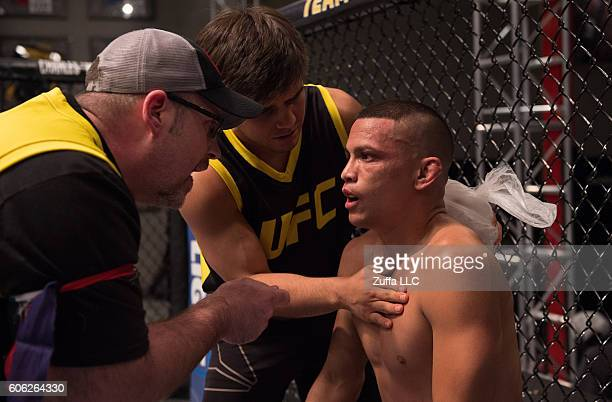 Adam Antolin receives advice from his corner inbetween rounds while facing Damacio Page during the filming of The Ultimate Fighter Team Benavidez vs...