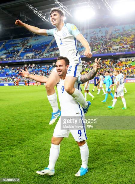 Adam Armstrong and Jonjoe Kenny of England celebrate after defeating Venezuela 10 in the FIFA U20 World Cup Korea Republic 2017 Final at Suwon World...