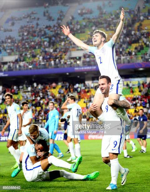 Adam Armstrong and Jonjoe Kenny of England celebrate with teammates after defeating Venezuela 10 in the FIFA U20 World Cup Korea Republic 2017 Final...