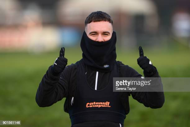 Adam Armstrong gives the thumbs up during the Newcastle United training session at the Newcastle United Training Centre on January 5 in Newcastle...