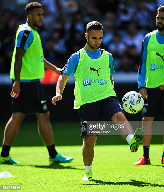 Adam Armstrong keeps the ball in the air during the Newcastle United Open Training Session at StJames' Park on August 1 in Newcastle upon Tyne England