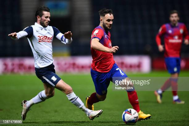 Adam Armstrong of Blackburn Rovers and Alan Browne of Preston North End during the Sky Bet Championship match between Preston North End and Blackburn...