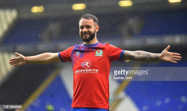 Adam Armstrong of Blackburn Rovers celebrates after he scores their second goal of the game during the Sky Bet Championship match between Coventry...