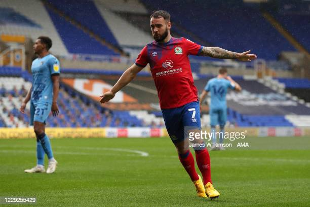 Adam Armstrong of Blackburn Rovers celebrates after scoring a goal to make it 0-2 during the Sky Bet Championship match between Coventry City and...