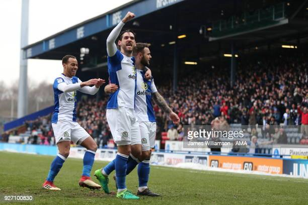 Adam Armstrong of Blackburn Rovers celebrates after scoring a goal to make it 1-0 during the Sky Bet League One match between Blackburn Rovers and...