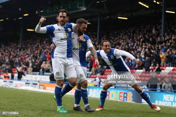 Adam Armstrong of Blackburn Rovers celebrates after scoring a goal to make it 10 during the Sky Bet League One match between Blackburn Rovers and...