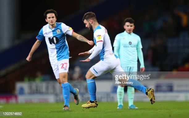 Adam Armstrong of Blackburn Rovers celebrates after scoring the opening goal during the Sky Bet Championship match between Blackburn Rovers and...