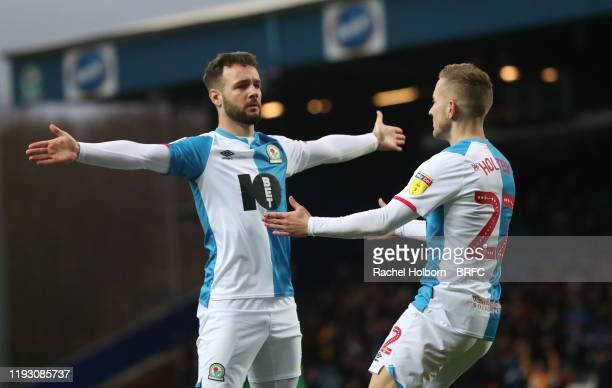 Adam Armstrong of Blackburn Rovers celebrates scoring his side's first goal during the Sky Bet Championship match between Blackburn Rovers and...