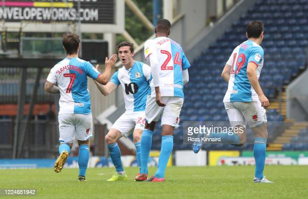 Adam Armstrong of Blackburn Rovers celebrates scoring his side's first goal during the Sky Bet Championship match between Blackburn Rovers and Leeds...