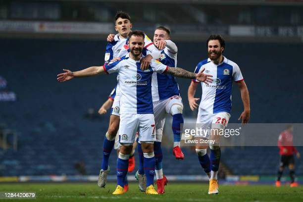 Adam Armstrong of Blackburn Rovers celebrates scoring his sides second goal during the Sky Bet Championship match between Blackburn Rovers and Queens...