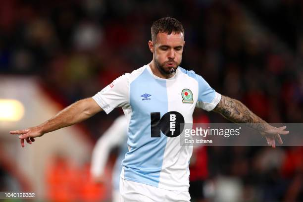 Adam Armstrong of Blackburn Rovers celebrates scoring his team's second goal from the penalty spot during the Carabao Cup Third Round match between...